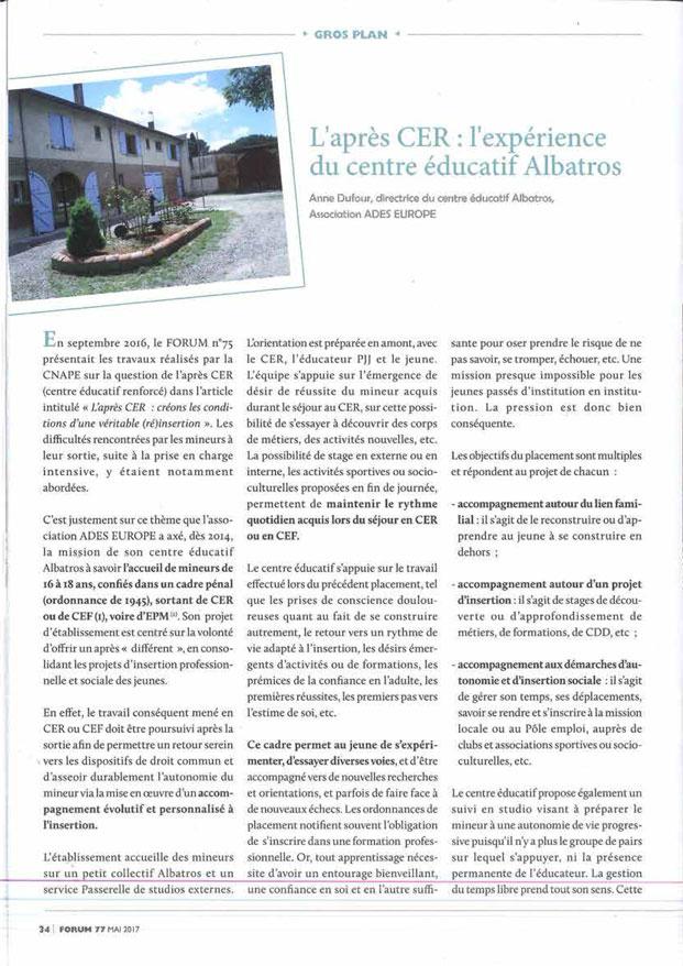 L'Albatros dans le magazine FORUM de la CNAPE Page 1/2.