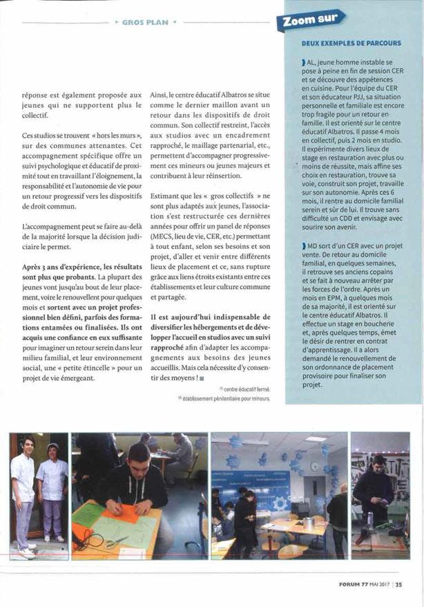 L'Albatros dans le magazine FORUM de la CNAPE Page 2/2.